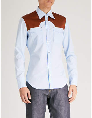 Maison Margiela Contrast-yoke cotton-poplin shirt