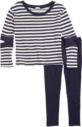 Splendid Stripe Cutout Sleeve Tunic & Leggings Set