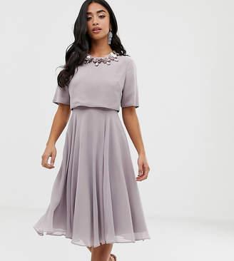 ceffcb02d0 Asos DESIGN Petite midi dress with 3D embellished neckline
