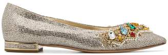 Casadei crystal-embellished ballerina shoes