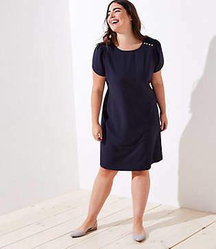 LOFT Plus Pinstriped Shoulder Button Dress