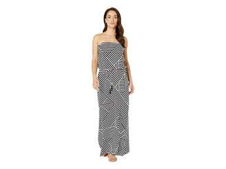 Tommy Bahama Fractured Stripe Bandeau Maxi Dress Cover-Up