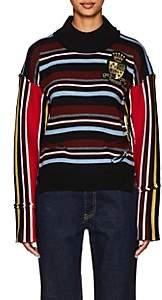 J.W.Anderson Women's Deconstructed Striped Wool Sweater - Burnt Oragne