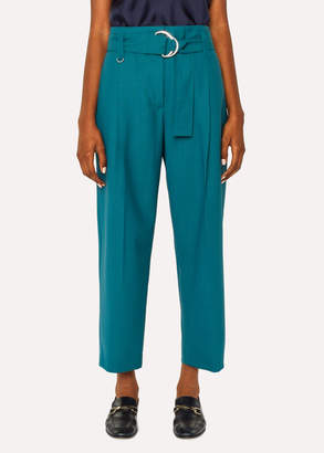 Paul Smith Women's Teal Houndstooth Pleated Wool Pants With Belt