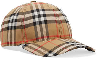 Burberry Leather-trimmed Checked Cotton-canvas Baseball Cap - Camel