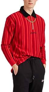 4HUNNID Men's Striped Cotton Rugby Shirt - Red