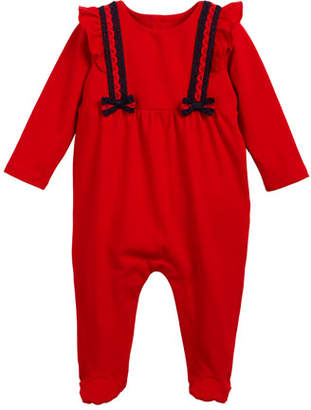 Gucci Lace Web-Trim Footie Pajamas, Size 0-9 Months