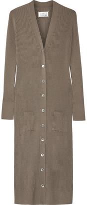 Maison Margiela - Ribbed-knit Wool Cardigan - Mushroom $1,145 thestylecure.com