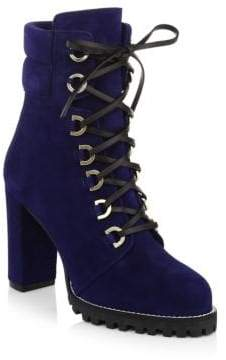 Stuart Weitzman Shackleton Lace-Up Suede Ankle Boots
