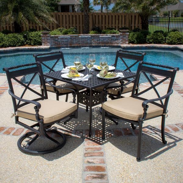 Lakeview Outdoor Designs Carrolton 4-Person Cast Aluminum Patio Dining Set