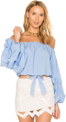 Lovers + Friends Lovers + Friends x REVOLVE Silas Top in Baby Blue $138 thestylecure.com