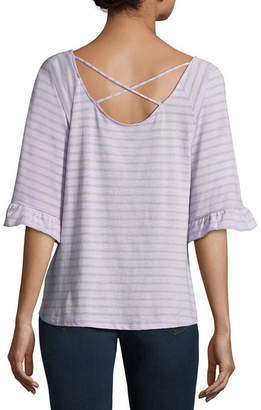 A.N.A Back Detail Ruffle Sleeve Tee - Tall