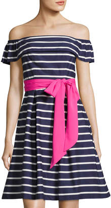 Eliza J Striped Tie-Waist Off-Shoulder Dress, Blue/White