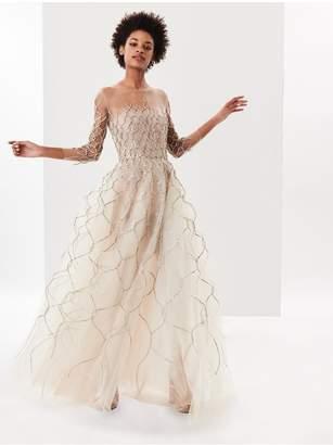 Oscar de la Renta Lame Fishnet Embroidered Tulle Illusion-Neck Gown