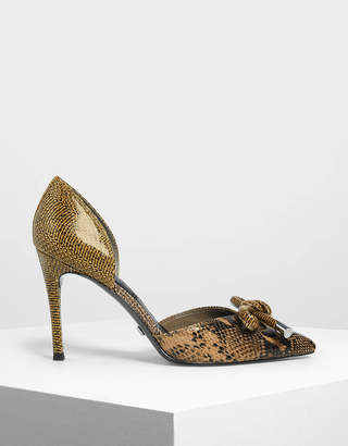 Charles & Keith Snake Print Bow Leather D'Orsay Pumps