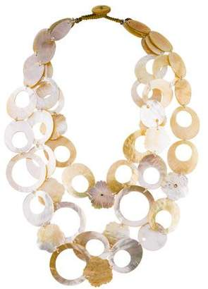 Viktoria Hayman Mother of Pearl & Crystal Multistrand Necklace