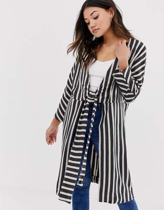 Pull&Bear long sleeve kimono in stripe (join life)