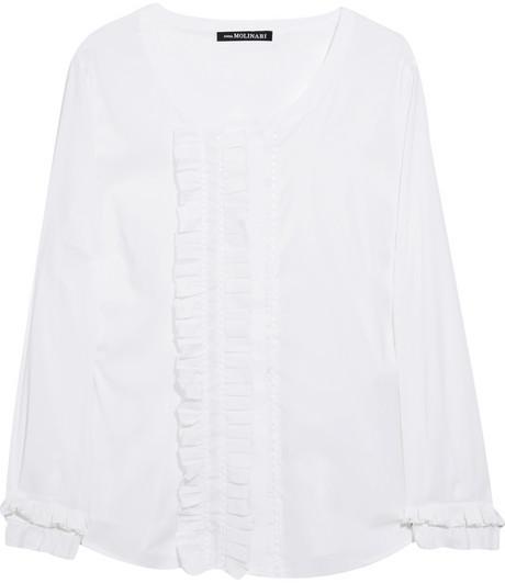 Anna Molinari Cotton-blend ruffled shirt