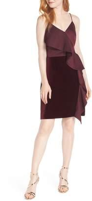 Chelsea28 Ruffle Front Stretch Velvet Dress