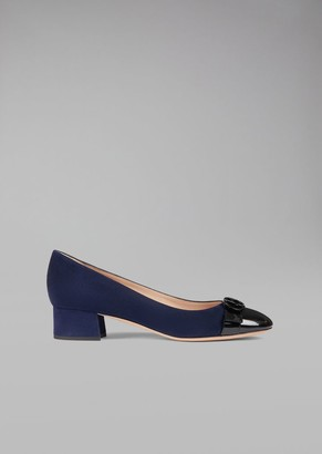 Giorgio Armani Suede Leather Court Shoe With Patent Toe And Logo Detail
