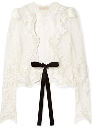 Brock Collection Jaira Velvet-trimmed Embroidered Tulle Jacket - Ivory