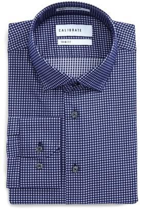 F&F CALIBRATE Trim Fit Stretch Check Dress Shirt