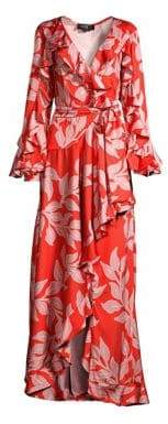 PatBO Leaf Print Ruffle-Sleeve Maxi Wrap Dress