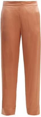 ASCENO Side-stripe wide-leg silk pyjama trousers