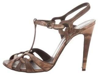 Bottega Veneta Lizard T-Strap Sandals