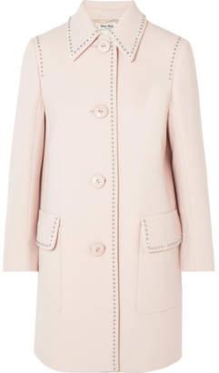 Miu Miu Studded Wool-crepe Coat - Blush