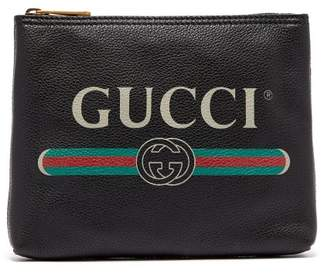 Gucci Logo Print Small Leather Pouch - Mens - Black