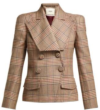 Fendi Double Breasted Checked Wool Blazer - Womens - Brown Multi