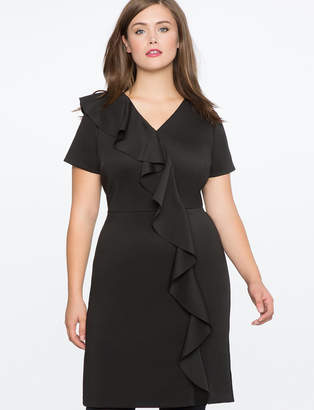 ELOQUII Shift Dress with Oversized Ruffle Cascade