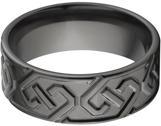 Celtic Generic 8mm Flat Black Zirconium Ring with a Milled Design