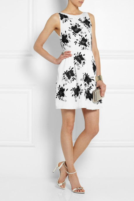 Alice + Olivia Lillyanne embellished open-back silk-twill dress