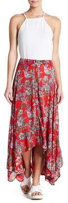 Angie Floral Handkerchief Hem Maxi Skirt