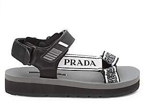 Prada Women's Nastro Jacquard Buckle Platform Sandals