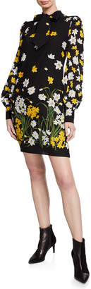 Andrew Gn Floral-Print Neck-Tie Blouson Sleeve Shift Dress