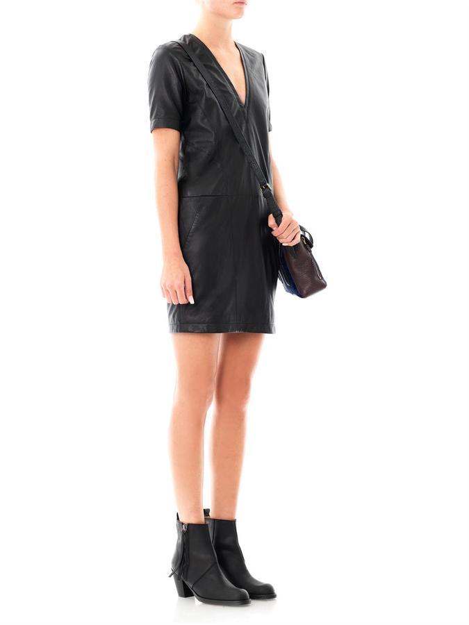 Helmut Lang V-neck leather dress