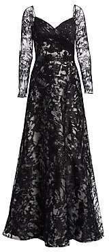 Rene Ruiz Rene Ruiz Women's Embroidered Long Sleeve Gown