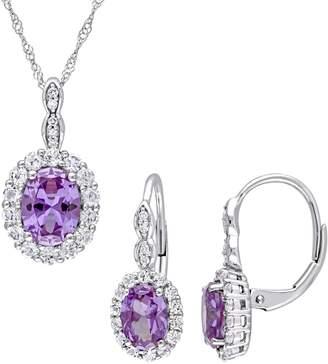 Concerto 2-Piece 14K White Gold, White Topaz 0.065 CT. T.W. Diamond Necklace Earrings Set