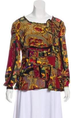 Oscar de la Renta Silk Printed Blouse