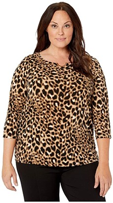 Calvin Klein Plus Plus Size Long Sleeve Top with Ruching and Hardware