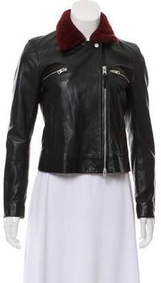 AllSaints Faux Fur-Trimmed Leather Jacket