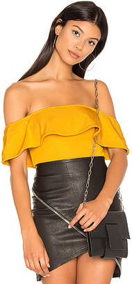 h:ours Off Shoulder Cheeky Bodysuit in Mustard $108 thestylecure.com