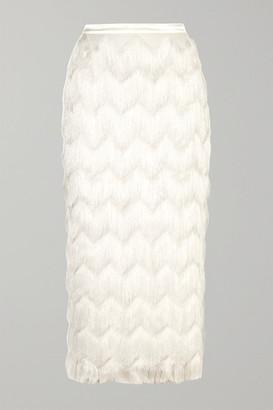 Halfpenny London - Turner Fringed Satin Skirt - White