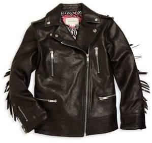 Gucci Girl's Leather Biker Jacket