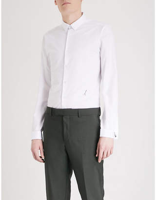 The Kooples Guitar-embroidered slim-fit cotton shirt