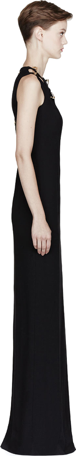 Versus Black Pinned Cut Out Long Dress