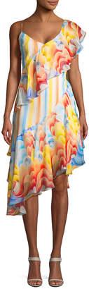 Temperley London Silk Asymmetric Ruffle Dress
